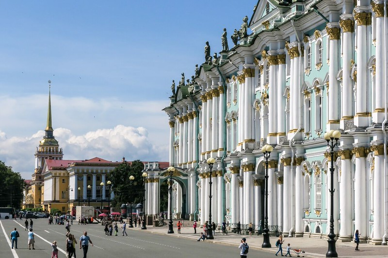 Green and white facade of the Hermitage Museum.