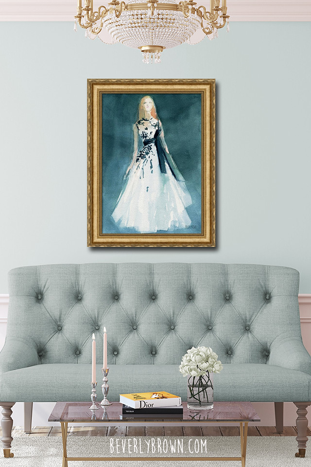 Teal and White Glam Fashion Art Over Sofa - Beverly Brown Artist