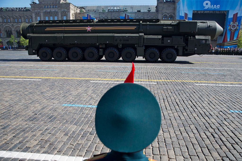 . Russian intercontinental ballistic missile Topol-M rolls across Red Square during the Victory Day Parade, which commemorates the 1945 defeat of Nazi Germany in Moscow, Russia, Friday, May 9, 2014.  (AP Photo/Pavel Golovkin)