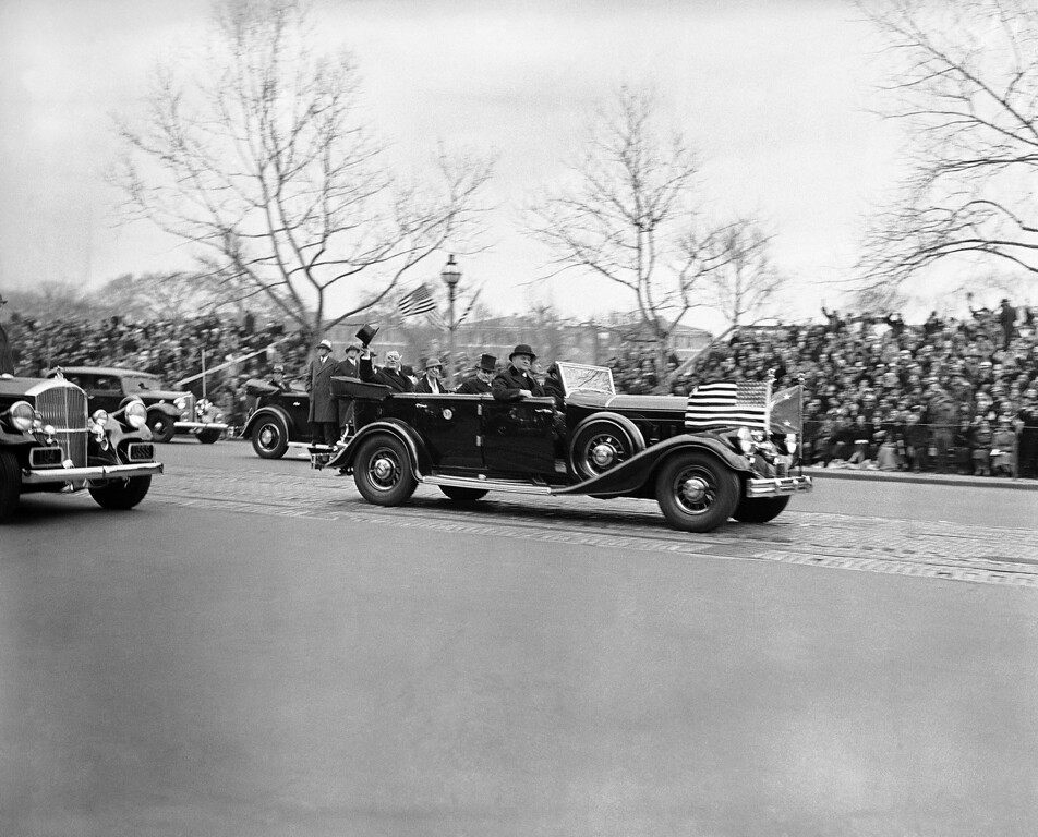 . President-elect Franklin D. Roosevelt rides in a limousine on his inauguration day in 1933. (Photo from The Library of Congress)