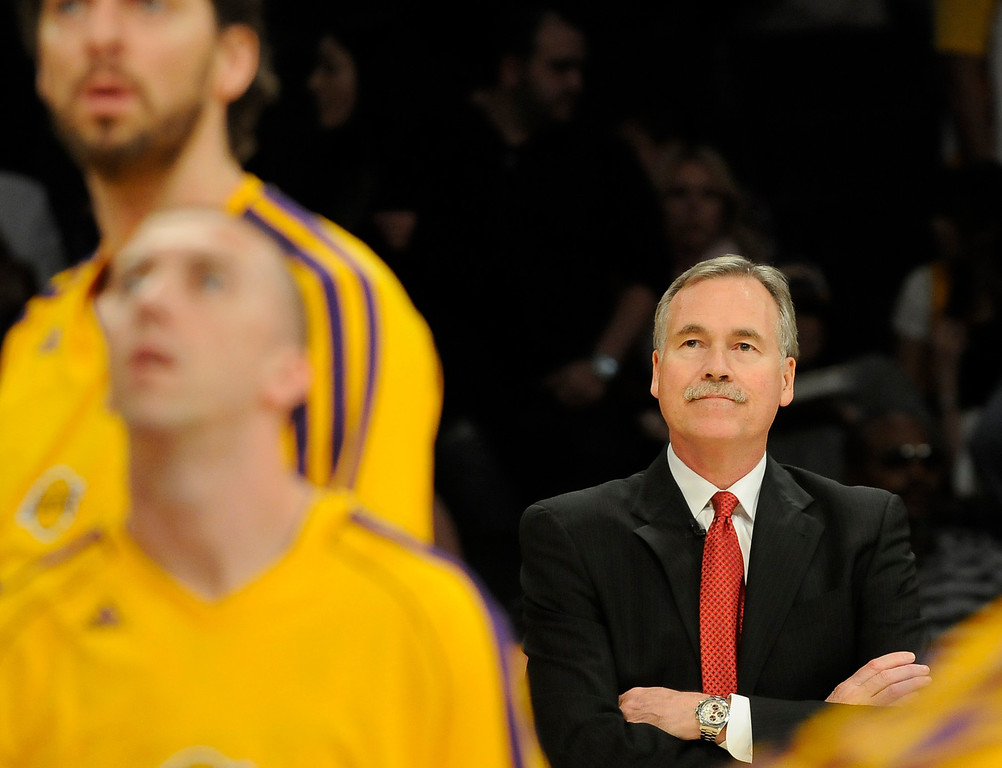 . Lakers Coach Mike D\'Antoni watches his team in warmups before the game. The Lakers faced the Houston Rockets in the final home game of the year at Staples Center in Los Angeles, CA 4/17/2013(John McCoy/Los Angeles Daily News)