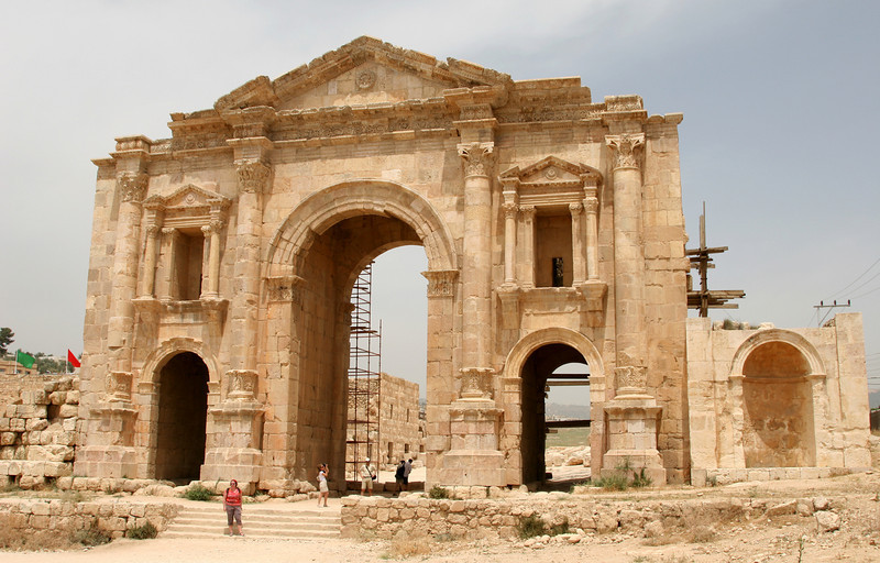 Jerash - Hadrian's Arch, also known as the Triumphal Arch, at the entrance to the Jerash Roman ruins.  The arch was built in AD 129 as the southern entrance to the city.  The central arch is the highest at 13m.  All three arches originally supported wooden doors.
