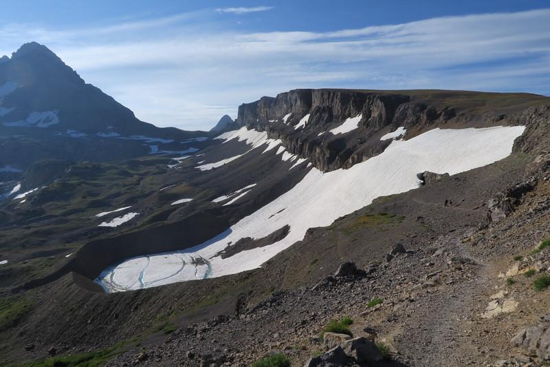 Schoolroom Glacier and its glacial lake and moraine