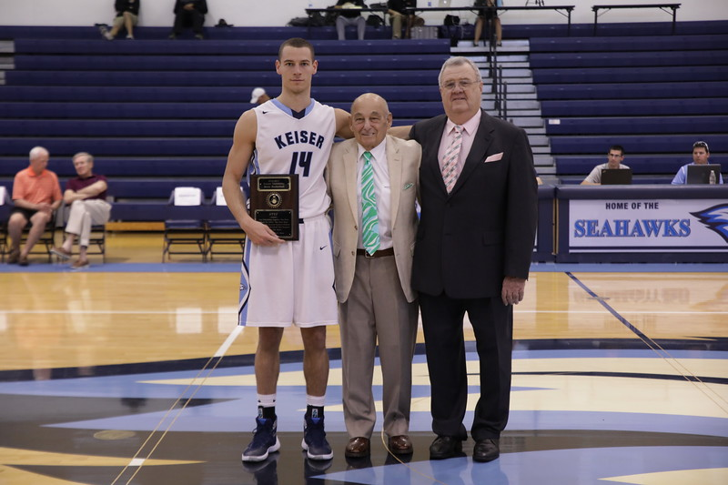 Keiser Senior Stefan Zecevic with Coach Massimino and Coach Sullivan