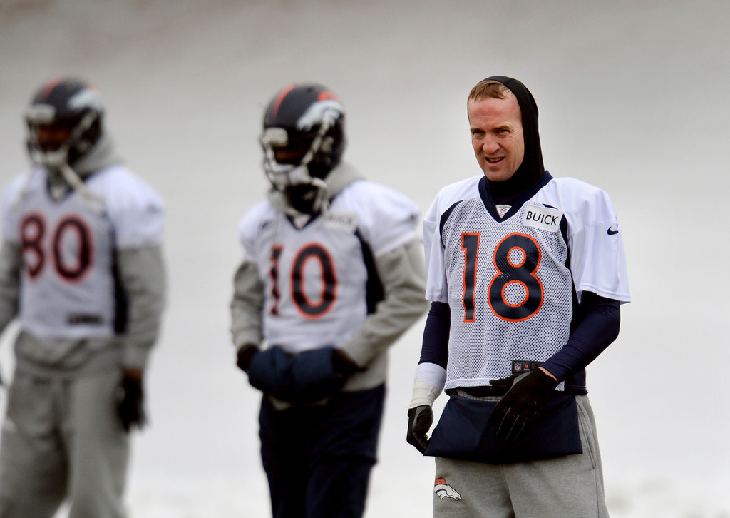 . CENTENNIAL, CO. NOVEMBER 22 : Peyton Manning of Denver Broncos (18) is warming up for the team practice at the field in Denver Broncos Headquarters at Dove Valley. Centennial, Colorado. November 22, 2013. (Photo by Hyoung Chang/The Denver Post)