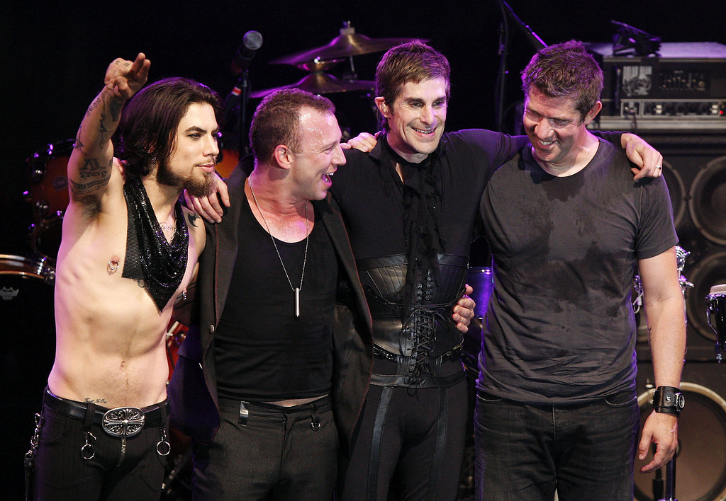 . LOS ANGELES - APRIL 23:  Musicians (L to R) Dave Navarro, Stephen Perkins, Perry Ferrell and Eric Avery, of Jane\'s Addiction, perform at the 1st Annual U.S. NME Awards at the El Rey Theater on April 23, 2008 in Los Angeles, California. (Photo by Kevin Winter/Getty Images)