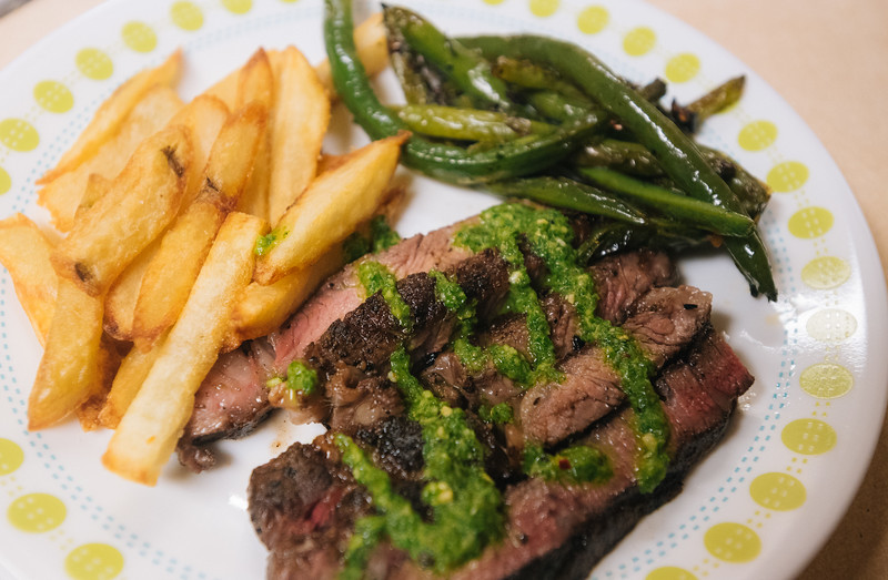 Steak with Fries + mint sauce