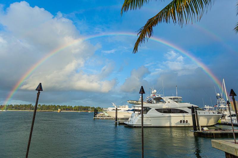 A rainbow arcs over the Intracoastal Waterway and Peanut Island as seen from Sailfish Marina on Friday, September 20, 2019.  [JOSEPH FORZANO/palmbeachpost.com]
