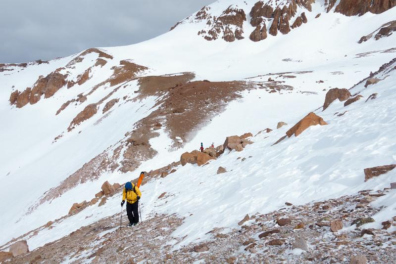 Dad hiking up.