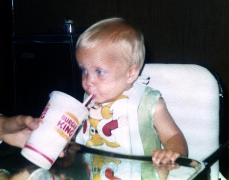 Mike enjoying a drink at Burger King