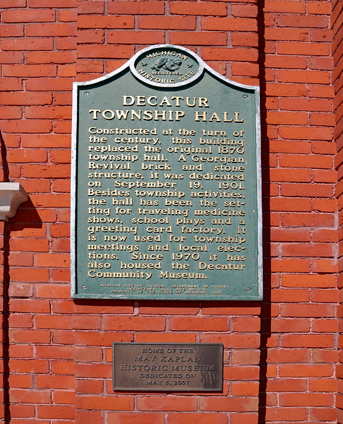 Historical marker at entrance to the Decatur Township Hall