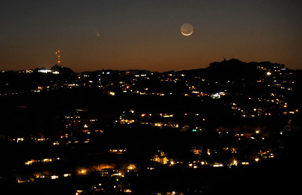. March 12,2013. Los Angeles CA.  The comet Pan-STARRS as seen on the western coast of Southern California with the waxing crescent  moon Tuesday evening.  The comet will be visible through the end of March.