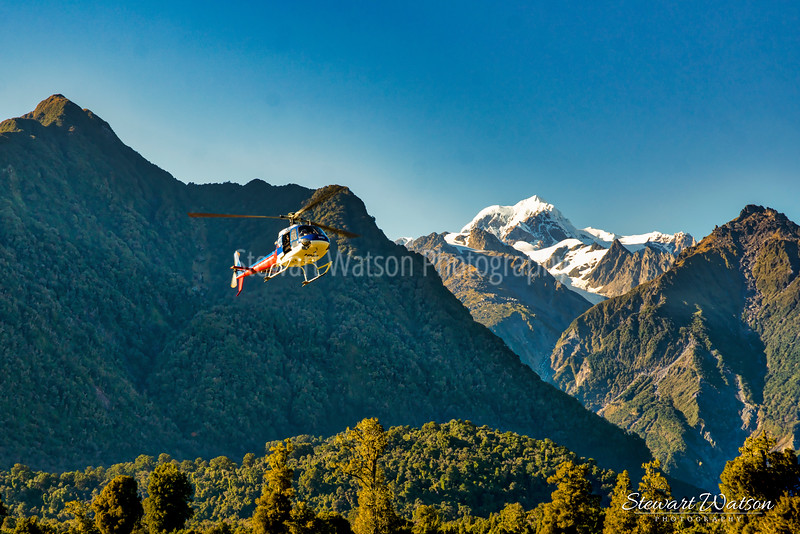 Chopper lifting off the ground on the West Coast of New Zealand heading for the glaciers in the Southern Alps