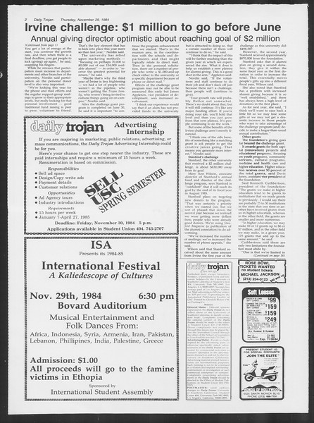 Daily Trojan, Vol. 97, No. 59, November 29, 1984