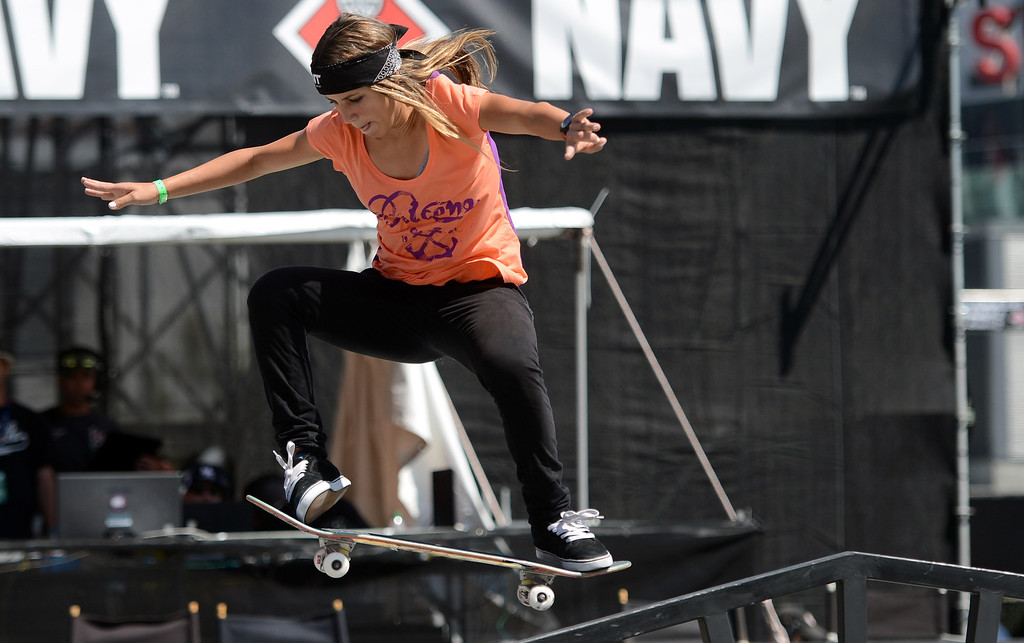 . Leticia Bufoni competes during her gold medal performance at  the  X Games Los Angeles Women\'s Skateboard Street Final at LA Live Thursday, August 1, 2013. (Hans Gutknecht/Los Angeles Daily News)