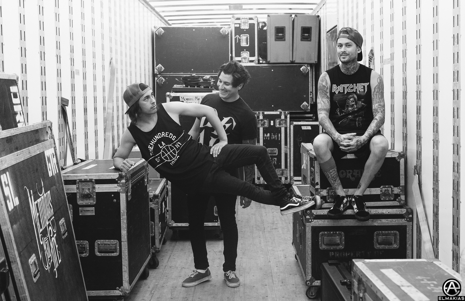 Vic Fuentes, Jaime Preciado, and Mike Fuentes of Pierce the Veil at Warped Tour 2015 by Adam Elmakias