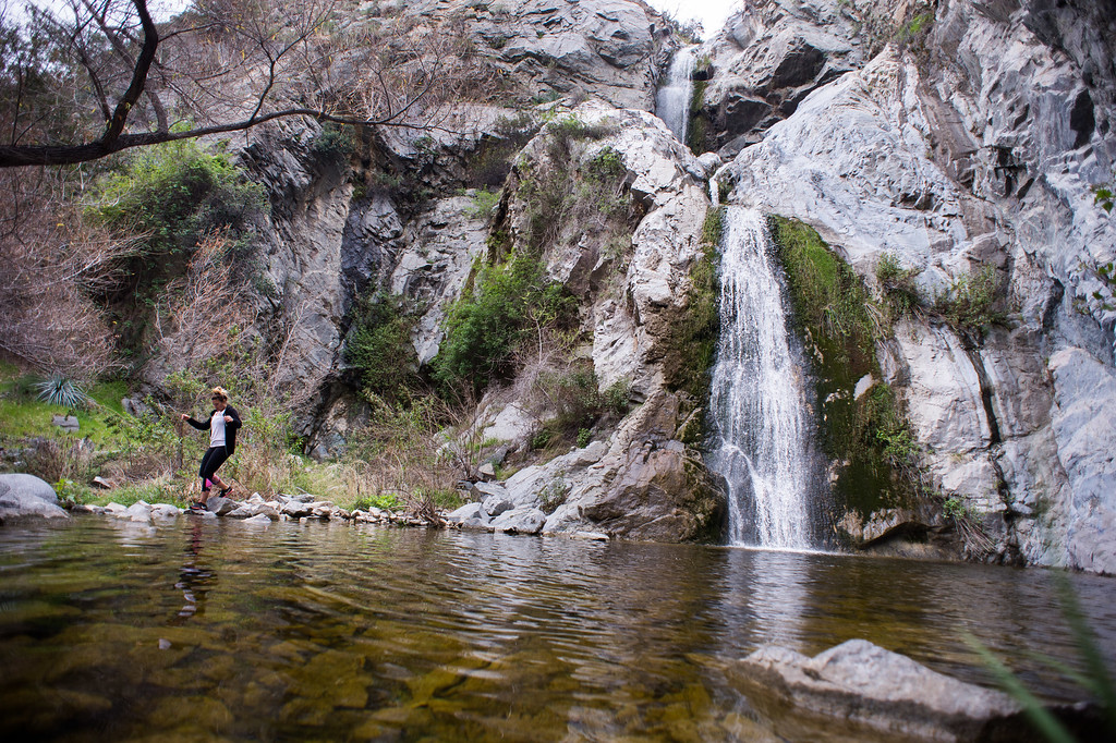 . Kim Jamison checks out Fish Canyon Falls in Angeles National Forest on Friday, February 27, 2015. Duarte received a $25,000 grant from Los Angeles County to rehabilitate the trail. (Photo by Sarah Reingewirtz/Pasadena Star-News)