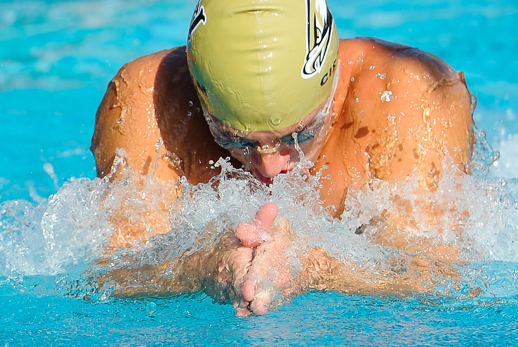 . Citrus Valley High School compete in the Boys 200 Yard Medley Relay in the CIF-SS Division 4 Swimming Championship Finals held at Riverside Community College pool on Friday, May 10, 2013. (Rachel Luna / Staff Photographer)