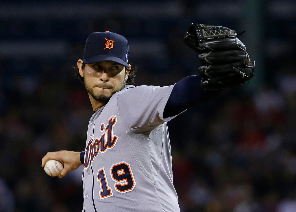 . Detroit Tigers starting pitcher Anibal Sanchez throws against the Boston Red Sox in the first inning during Game 1 of the American League baseball championship series Saturday, Oct. 12, 2013, in Boston. (AP Photo/Matt Slocum)