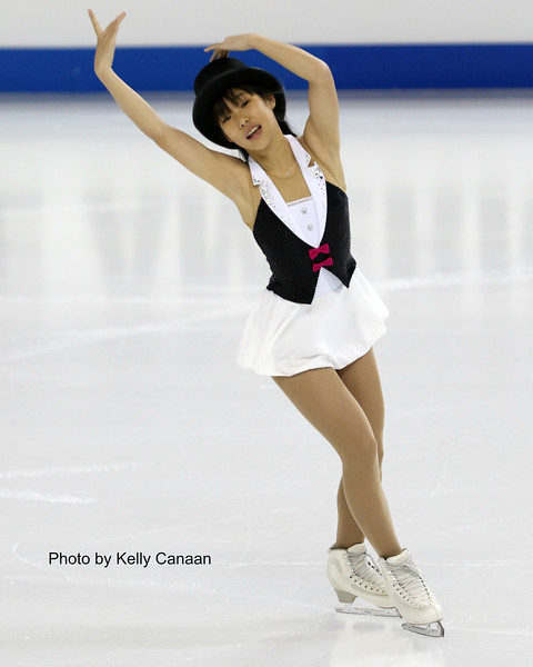 Bronze Medalist Mai Mihara practices her exhibition piece at Skate America.