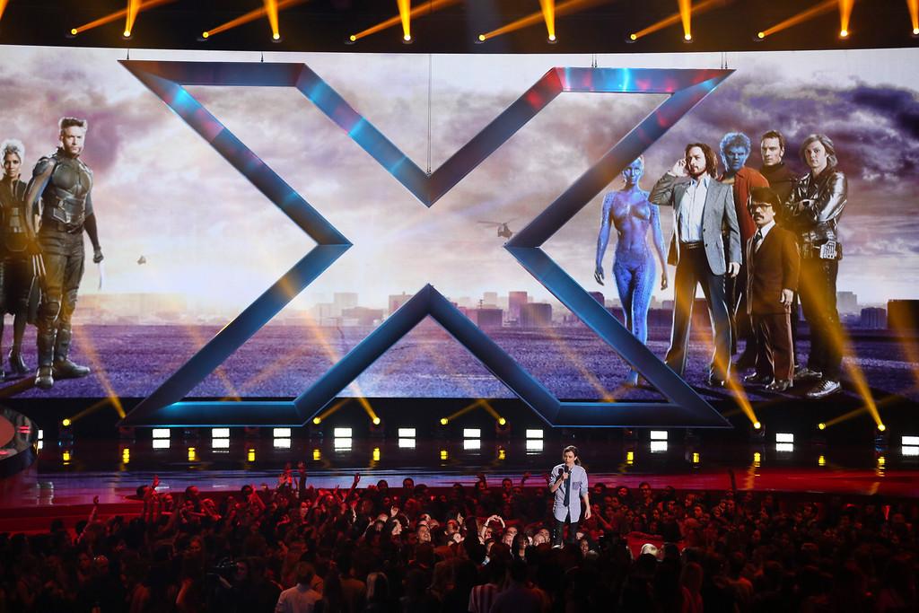 . Ellen Page presents a clip from ìX-Men: Days of Future Pastî on stage at the MTV Movie Awards on Sunday, April 13, 2014, at Nokia Theatre in Los Angeles. (Photo by Matt Sayles/Invision/AP)
