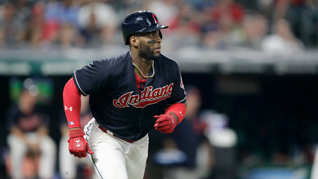 . Cleveland Indians\' Yandy Diaz runs the bases after hitting a solo home run in the ninth inning of a baseball game against the Kansas City Royals, Tuesday, Sept. 4, 2018, in Cleveland. (AP Photo/Tony Dejak)