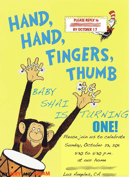 The theme of the party was the classic children's book Hand, Hand, Fingers, Thumb, which my parents read to us when we were little, and which Abby and Avram now read to Shai.