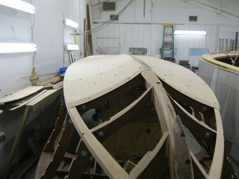 Front view of the first layer of plywood being fit.