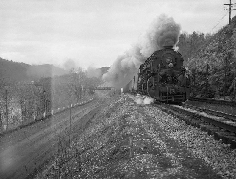2018.15.N79.6212A--ed wilkommen 3x4 neg--N&W--steam locomotive 2-8-8-2 Y6a 2158 on coal freight train action--location unknown--no date