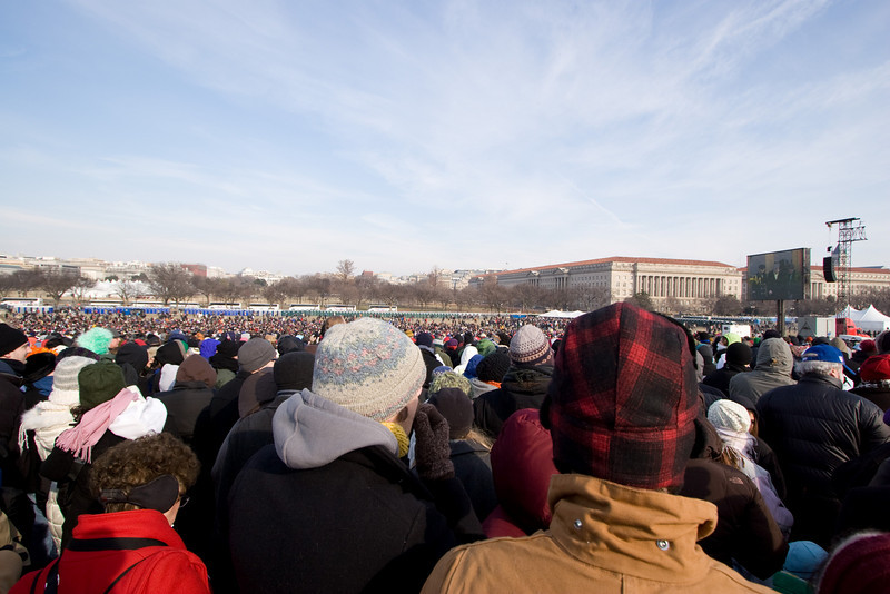 Wide angle view showing the White House (left-center) and the Jumbotron, as seen from the grounds of the Washington Monument. -- Presidential Inauguration for Barack Obama, Jan 20, 2009. It was about 25 degrees out with a crowd estimated at 1.5-1.8 million people.