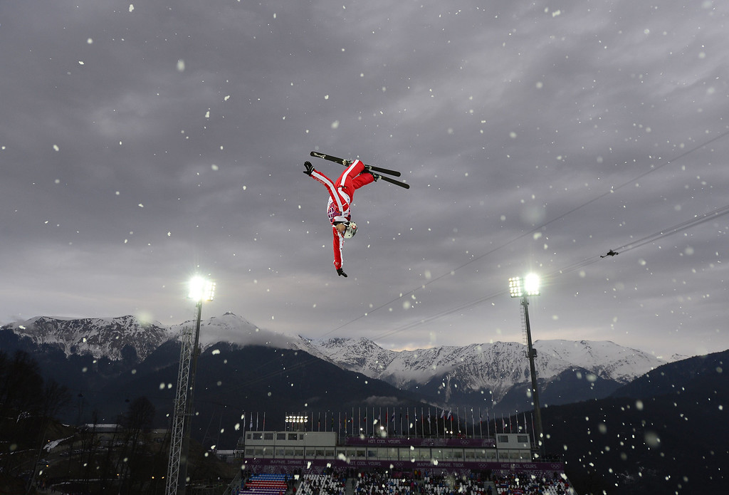 . Switzerland\'s Thomas Lambert competes in the Men\'s Freestyle Skiing Aerials qualifications at the Rosa Khutor Extreme Park during the Sochi Winter Olympics on February 17, 2014.    JAVIER SORIANO/AFP/Getty Images