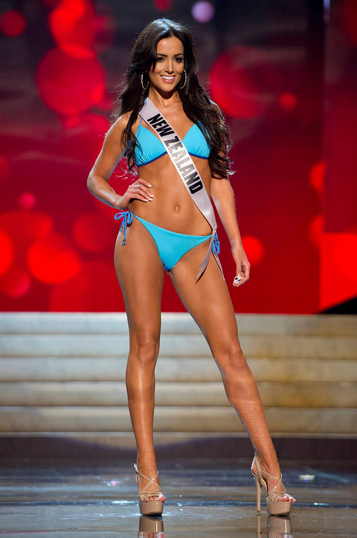 . Miss New Zealand Talia Bennett competes in her Kooey Australia swimwear and Chinese Laundry shoes during the Swimsuit Competition of the 2012 Miss Universe Presentation Show at PH Live in Las Vegas, Nevada December 13, 2012. The 89 Miss Universe Contestants will compete for the Diamond Nexus Crown on December 19, 2012. REUTERS/Darren Decker/Miss Universe Organization/Handout