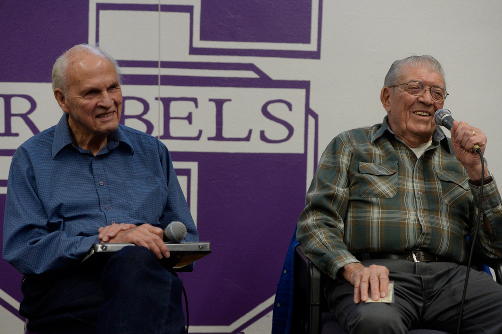 . WWII veterans, Carl Hammergren, left, U.S. Navy and Earl Lammers, U.S. Army Corp. have a laugh answering questions from South High School students Wednesday morning, February 12, 2014.  Three WWII veterans from the Clermont Park Retirement Community visited Cristina Chacon\'s U.S History class at South High to tell their stories and answer questions from the students. (Photo By Andy Cross / The Denver Post)
