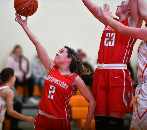 12/26/2019 Mike Orazzi | StaffrNorthwestern's Francesca DeSanti (2) and Jana Sanden (23) during Thursday's girls basketball game in Terryville. r