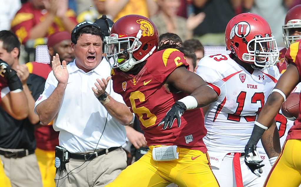 . Southern California safety Josh Shaw (6) reacts after recovering a Utah fumble during the first half of an NCAA college football game in the Los Angeles Memorial Coliseum in Los Angeles, on Saturday, Oct. 26, 2013.  (Photo by Keith Birmingham/Pasadena Star-News)