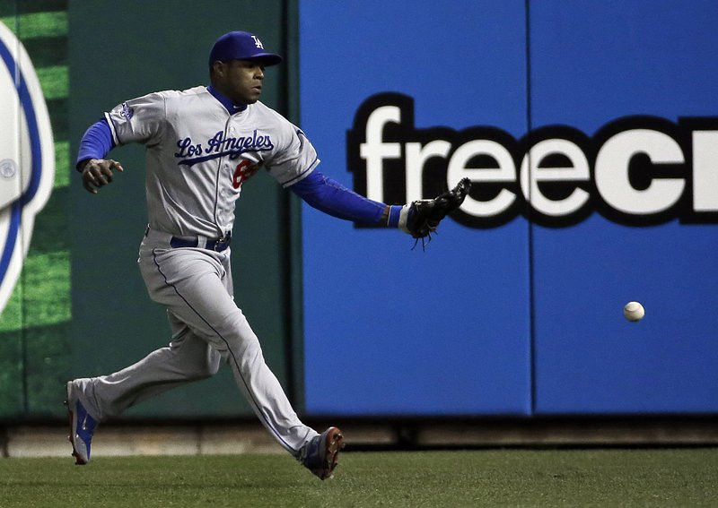 """. <p>5. YASIEL PUIG <p>Billion-dollar talent. Ten cent brain. (unranked) <p><b><a href=\'http://www.cbssports.com/mlb/eye-on-baseball/24103672/was-game-6-of-the-nlcs-the-low-point-for-dodgers-yasiel-puig\' target=\""""_blank\""""> HUH?</a></b> <p>    (AP Photo/David J. Phillip)"""
