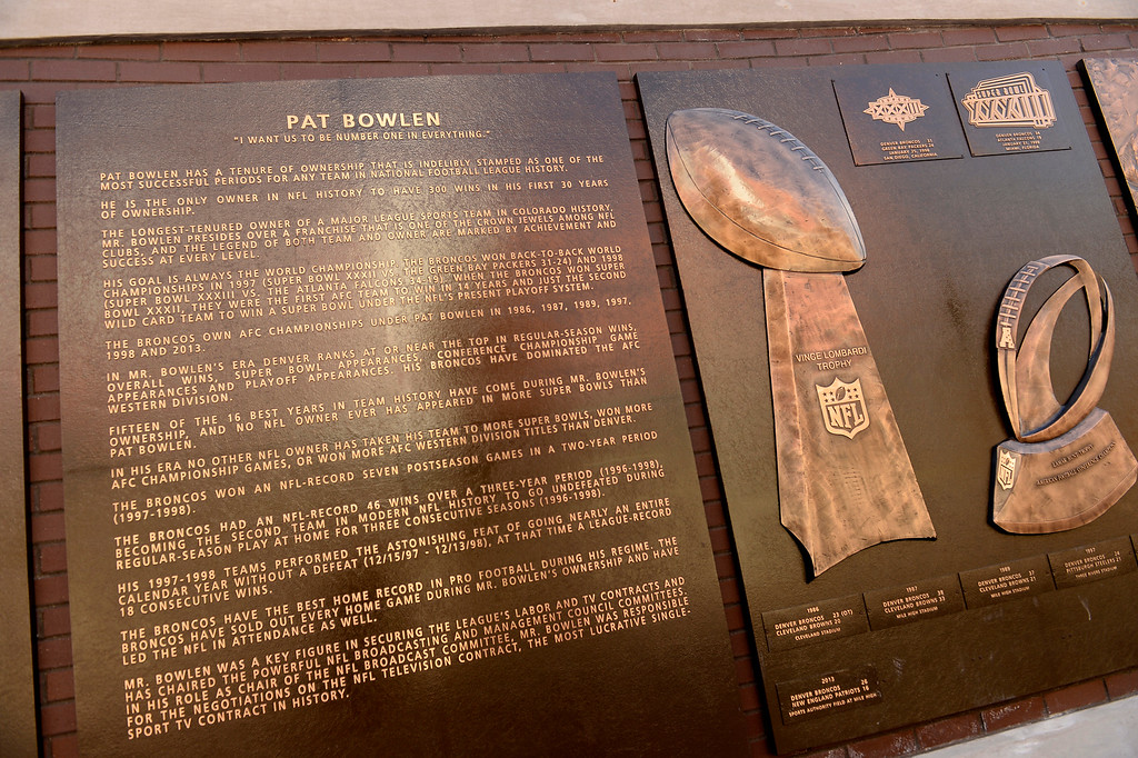 . This is the plaque for  Broncos owner Pat Bowlen at the Ring of Fame plaza for the Broncos outside of Sports Authority Field at Migh High in Denver, Colorado on December 31, 2015. (Photo by Helen H. Richardson/The Denver Post)