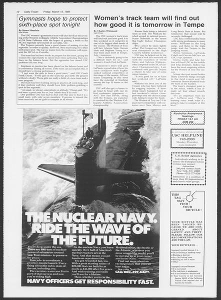 Daily Trojan, Vol. 98, No. 44, March 15, 1985