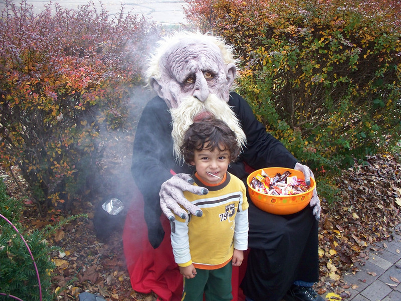 The Troll and Davis after the trick-or-treat activity was finished.
