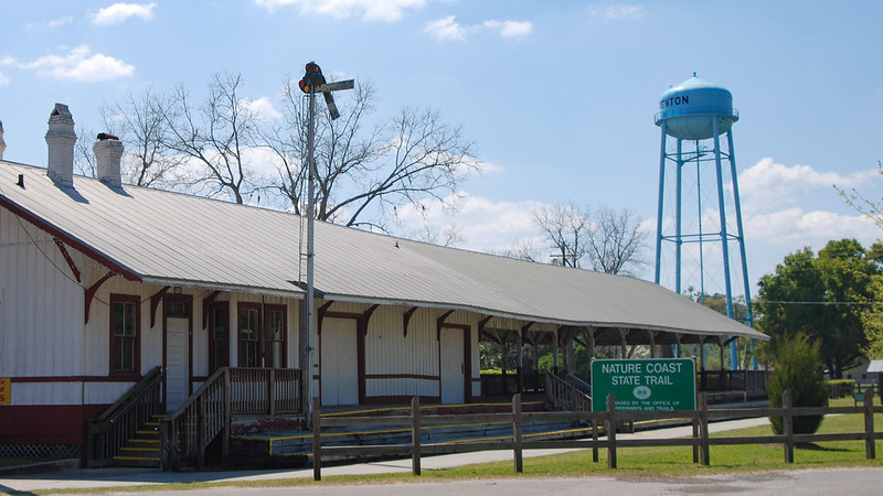 Old railroad depot with bike path