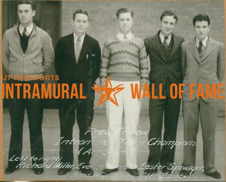 FREE THROW Intramural Team Champions  All Stars  Richard Miller, Everett Johnson, Lester Springer, Ross Madde, Otto Zaneck