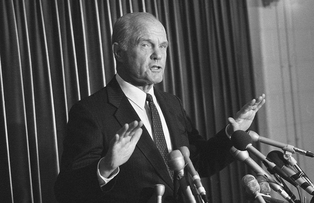 . Ohio Sen. John Glenn, a democratic presidential contender, comments on presidential counselor Edwin Meeses statements on poverty in the United States while campaigning, Friday, Dec. 9, 1983, Chicago, Ill. Glenn said Meeses comment that hunger in the United States appears overstated shows callous disregard for poor people. (AP Photo/Charles Bennett)