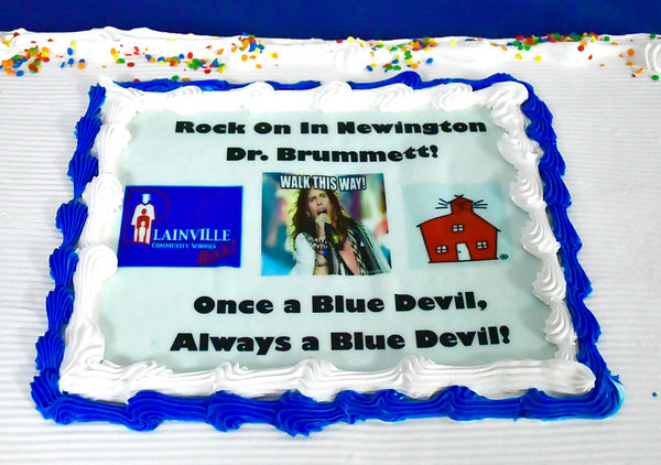 6/11/2019 Mike Orazzi | Staff Maureen Brummett's farewell reception at Plainville High School on Tuesday.