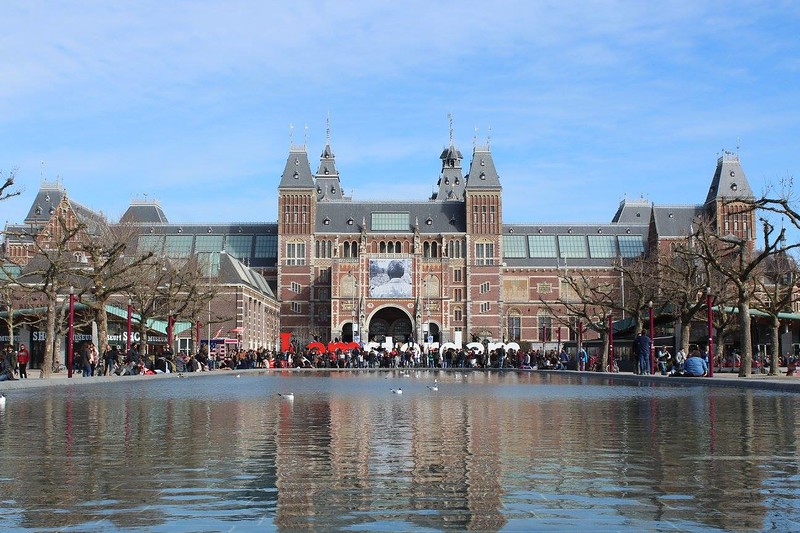 Outside the Rijksmuseum in Amsterdam