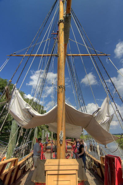 People tour The Adventure, a fully-functional replica of a 17th-century trading vessel, at Charles Towne Landing State Historic Park in Charleston, SC on Saturday, September 7, 2013. Copyright 2013 Jason Barnette