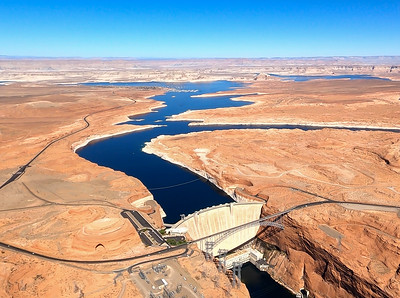 Lake Powell and Glen Canyon Dam aerials October 2020