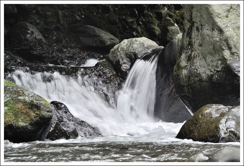 A small natural waterfall on the Haya river