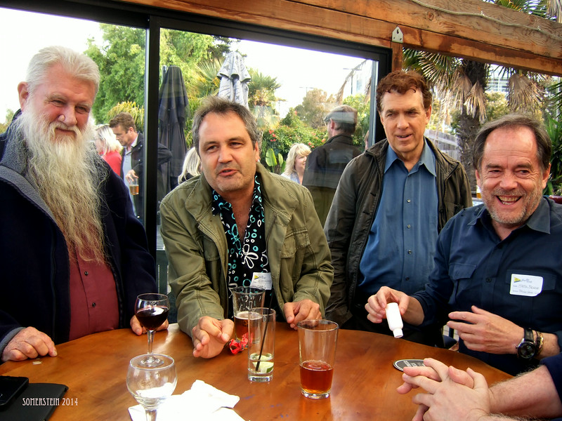 Ron Turner, left; Jack boulware (Litquake), 2nd on left;  ?, 2nd on right; Mark Rennie, right - Mark Rennie and his friend Michelle's birthday party at Bayview Boat Club