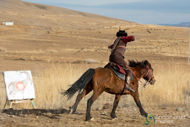 Archery on Horseback Demonstration - Sulbuurun Federation - Southern Shore, Kyrgyzstan