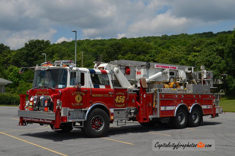 Mahanoy City (Citizens Fire Co. 2) Tower Ladder 456: 1991 Mack/Baker 95' Aerialscope (X-Upper Saucon, PA)